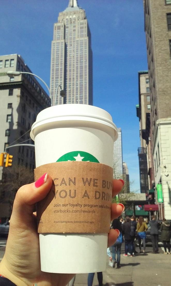 Starbuck Coffee in front of the Empire State Building